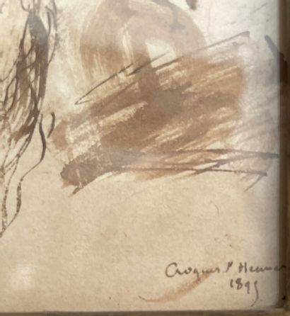 Jean-Jacques HENNER (1829-1905)  Old man  Pen and brown ink wash, signed and dated...