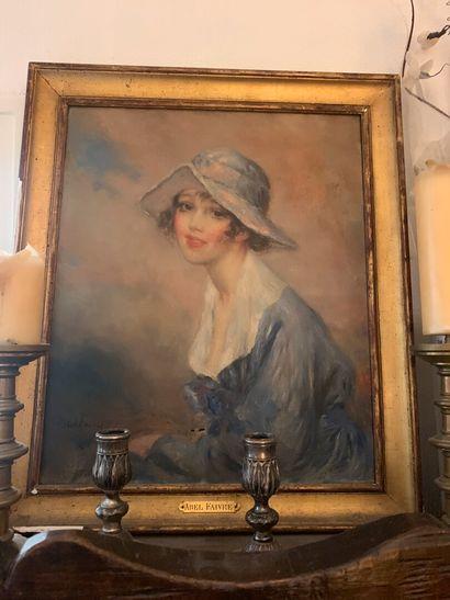Abel FAIVRE (1867-1945)  Jeune femme au chapeau...