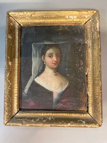 French school of the 19th century  Portrait of a woman with a white veil  Oil on...