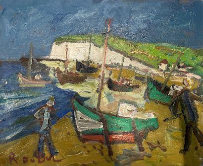 Roland DUBUC (1924-1998)  Barques sur la...