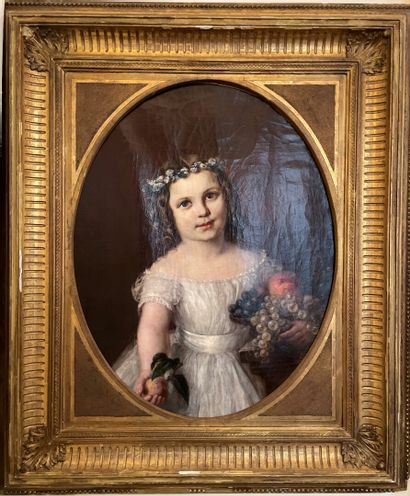 French school of the 19th century  Girl with a crown of flowers and a fruit cup...