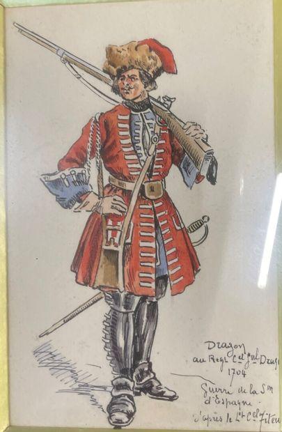 Lot of military engravings   Dragon : 13,5 x 8,5 cm  Grenadier : 20,5 x 14 cm  We...