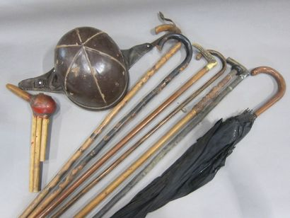 2 Boxes of various trinkets: Lot of walking sticks, helmet covered with leather,...