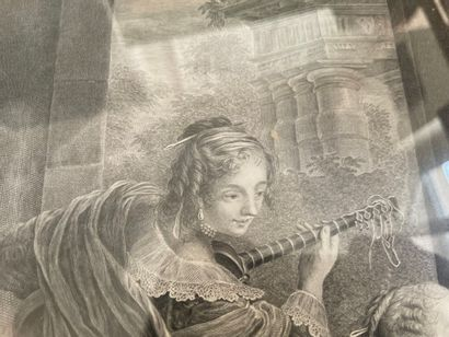 """After Carl VAN LOO engraved by Jacques Firmin Beauvarlet  """"Spanish conversation""""...."""