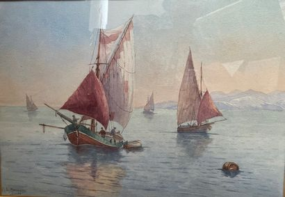 Ecole Française XXème siècle  Marine  Aquarelle...