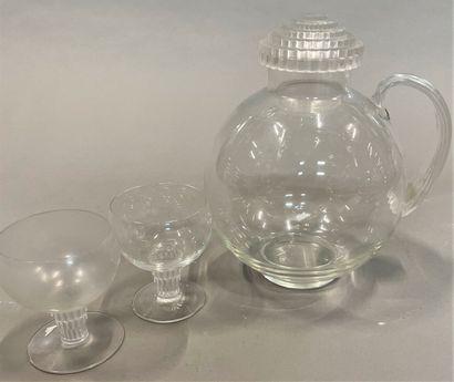 R.LALIQUE  Pichet et deux verres à pied  H...