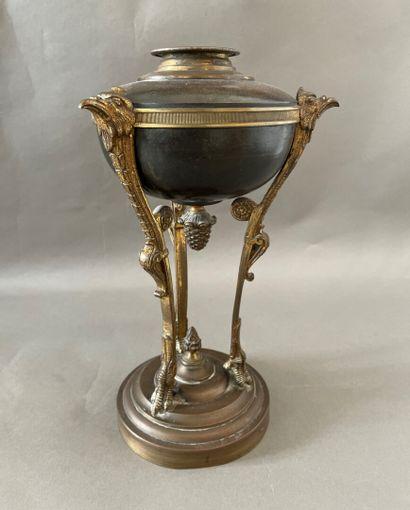 Pied de lampe en athénienne en bronze doré...
