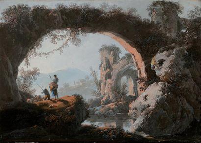 Jean PILLEMENT (1728-1808) Paysage animé Pastel signé 26,5 x 40 cm // GA