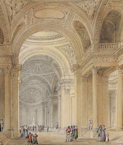 Pierre-François-Léonard FONTAINE (Pontoise 1762 - Paris 1853) Vue intérieure du Panthéon....