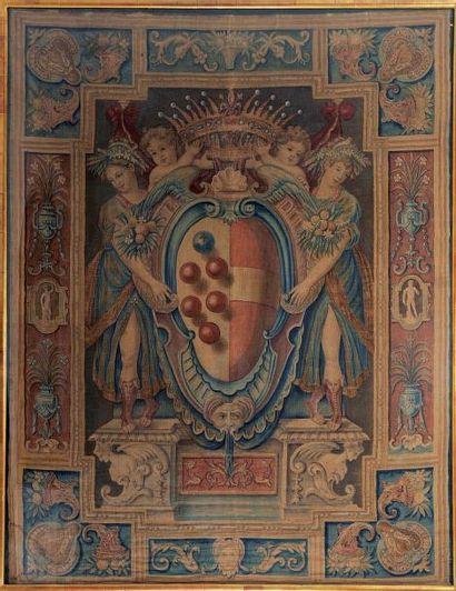 Chancellerie sur toile peinte aux armoiries...