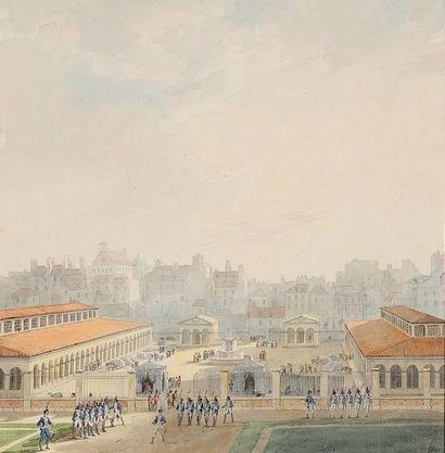 Pierre-François-Léonard FONTAINE (Pontoise 1762 - Paris 1853) Vue du Marché de l'Abbaye...