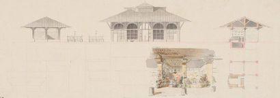 Pierre-François-Léonard FONTAINE (Pontoise 1762 - Paris 1853) Huit projets de marchés...