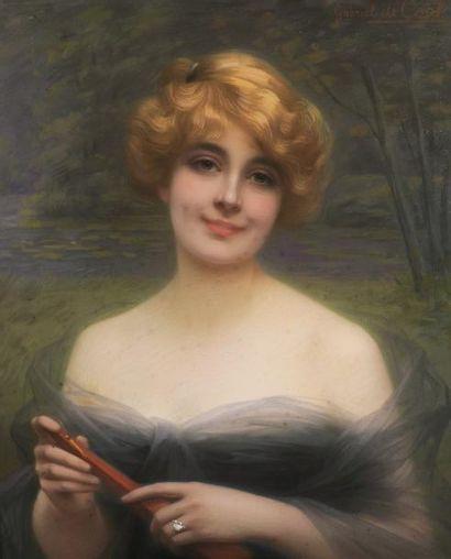 Gabriel de COOL (né en 1854-?) Portrait de femme Pastel signé en haut à droite 72...