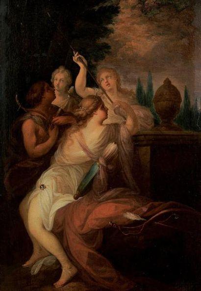 École française du XVIIIème siècle Nymphes Huile sur toile 64,5 x 46 cm Ancienne...