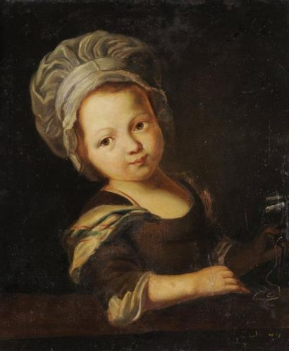 École Française du XVIIIème siècle Portrait de jeune fille Huile sur toile, rentoilée...