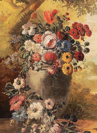 École française du XIXème siècle Paysage, putti et jeté de fleurs Huile sur toile,...