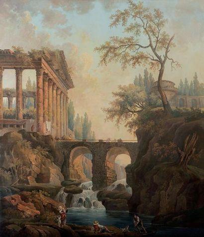 École française de la fin du XIXème siècle Paysage au port et aux ruines dans le...