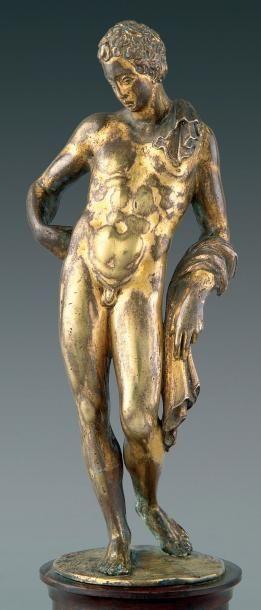 Antinoüs du Belvédère. Statuette en bronze...