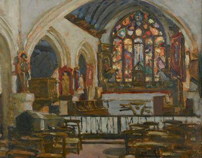 Lucien SIMON (1861-1945) La chapelle de Tréguennec Huile sur panneau signée en bas...