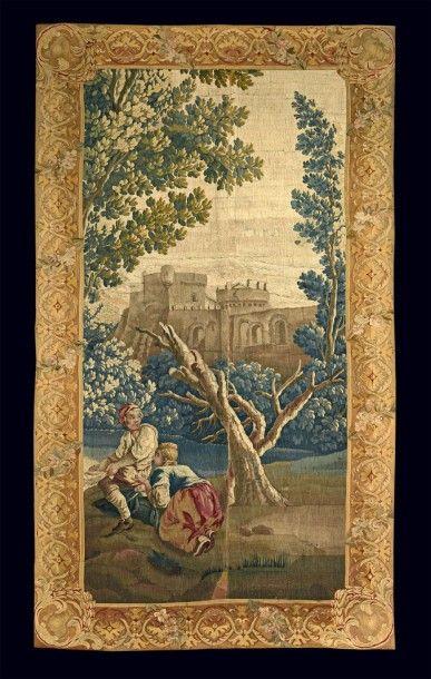 Fragment de tapisserie d'Aubusson en laine...