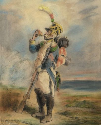 Edouard LIEVRE (Blamont 1829 - Paris 1886) Un soldat buvant Crayon noir et pastel....