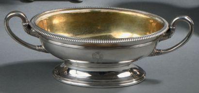 Coupe ovale en argent, sur piédouche, le...