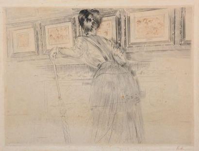 Paul César HELLEU (1859-1927) Les trois crayons de Watteau ou Madame Helleu devant...