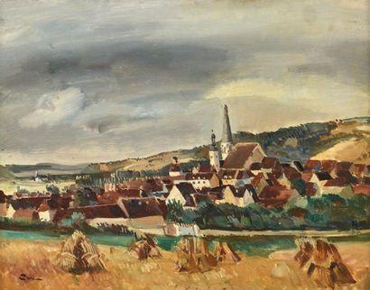 Edmond CERIA (1884-1955) Vue de village Huile sur panneau, signé en bas à gauche....