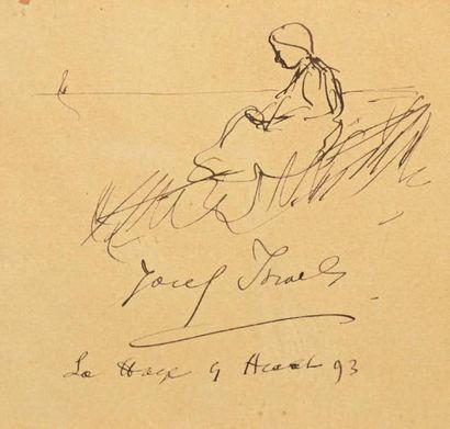 Isaac Lazarus ISRAELS (1865-1934) Jeune femme assise Plume à l'encre brune sur papier,...
