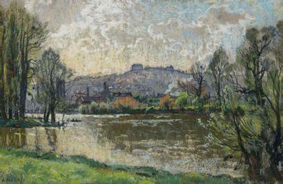 Alexandre NOZAL (1852-1929) Les bords du Loing, 1910 Pastel sur papier, signé en...