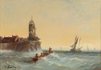 École HOLLANDAISE du XIXe siècle Sortie du port par gros temps Huile sur toile, signé...