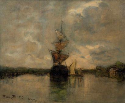 Frank Myers BOGGS (1855-1926) Voilier à l'ancre Huile sur toile, signée en bas à...