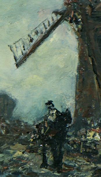 Johan-Barthold JONGKIND Paysage hollandais au clair de lune Huile sur toile, datée...
