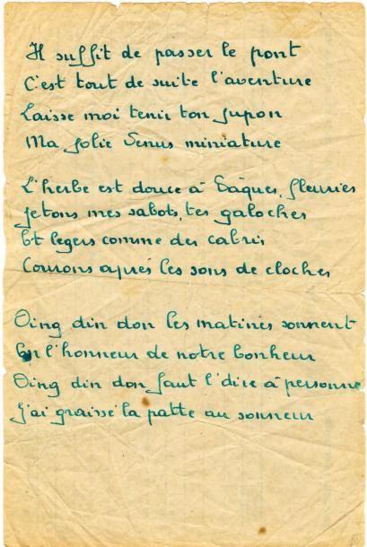 BRASSENS Georges Manuscrit autographe d'une variante des 3 premiers quatrains de...