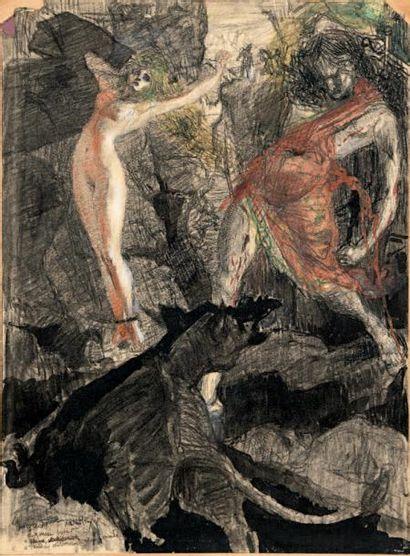 Artur HEYER (1972-1931) Persée délivrant Andromède, esquisse Fusain et gouache sur...