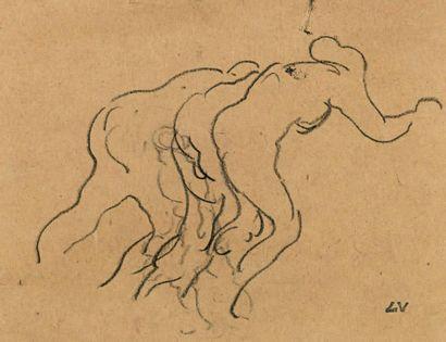 Louis VALTAT (1869-1952) Étude de nus courbés Fusain sur papier signé du cachet du...