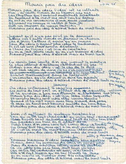 BRASSENS Georges Manuscrit autographe: «Mourir pour des idées». Parue en 1972. 1...