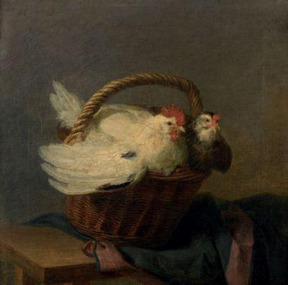 École FRANÇAISE vers 1750 dans le style de Jean Siméon CHARDIN Poules dans un panier...