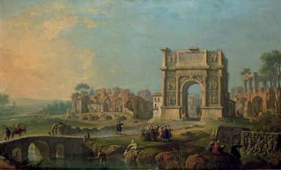 Attribué à Antonio JOLI (1700-1777) Visite dans une vue imaginaire du forum romain...