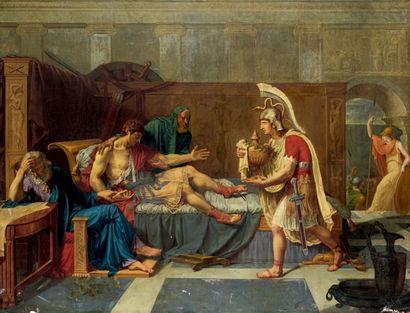 École FRANÇAISE vers 1810 La mort de Socrate Toile. Traces de signature en bas à...