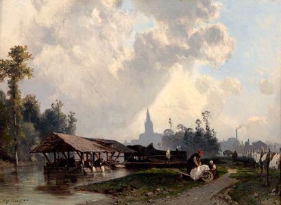 Eugène CICERI (Paris 1813 - Bourron-Marlotte 1890) Lavandières dans un paysage Panneau....