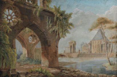 École FRANÇAISE du début du XIXe siècle Ruines d'une abbaye Gouache. 61 x 93 cm