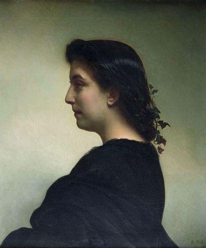 Adolphe PIOT (Digoin 1825 - Paris 1910) Portrait de Mademoiselle G. R... Toile. Signé...