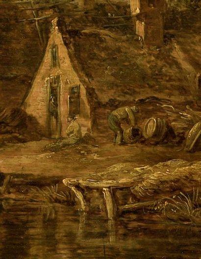 Jan Van GOYEN (Leyde 1596 - La Haye 1656) Village en bord de rivière Panneau de chêne...