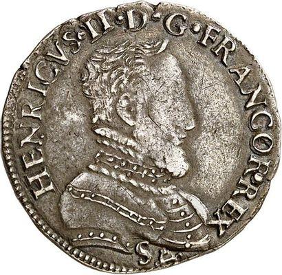 HENRI II (1547-1559). Demi teston d'argent...