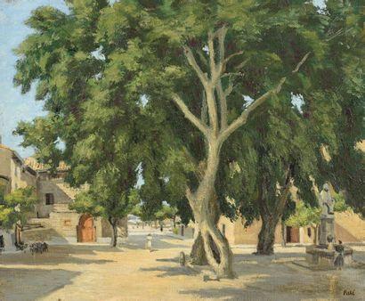 Jean PESKÉ (1870-1949) Place dans le Midi Huile sur toile, signé en bas à droite....