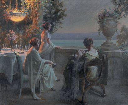 Delphin ENJOLRAS (1857-1945) Le soir sur la terrasse Huile sur toile, signée en bas...