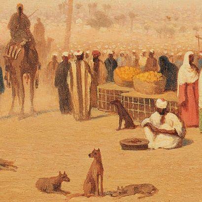 Charles Théodore FRERE (1814-1888) Marché au Caire Huile sur panneau, signé et situé...