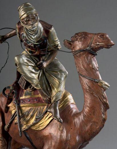 EDOUARD DROUOT (1859-1945) Le Méhariste Bronze à patine polychrome, signé sur la...