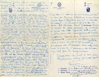 SALVADOR Henri Lettre autographe, adressée à sa soeur Alice. Gênes, le 20 février...